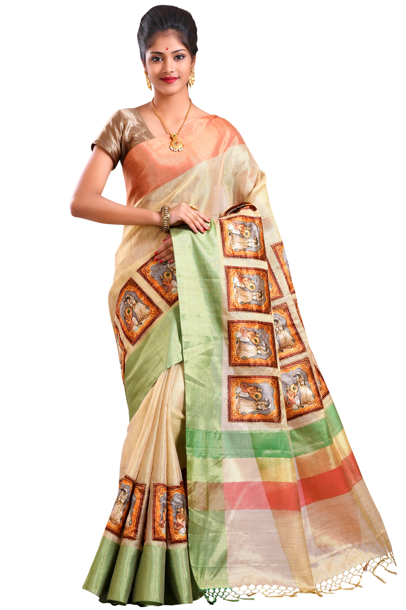 Burlywood Color Aplic Work Chanderi Saree