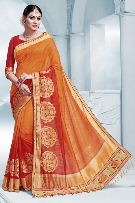 Semi Silk Royal Saree With Golden Weaved In Orange And Red