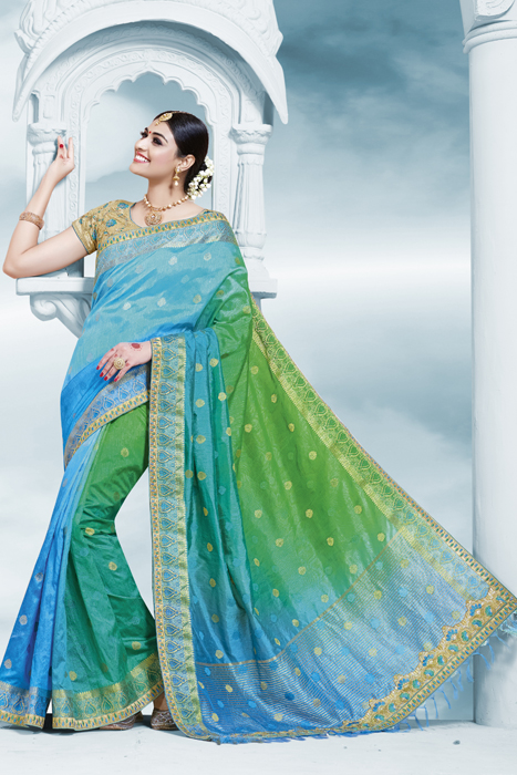 Sky Blue Saree With Half And Half Green And Sky Blue  With Golden Embellished