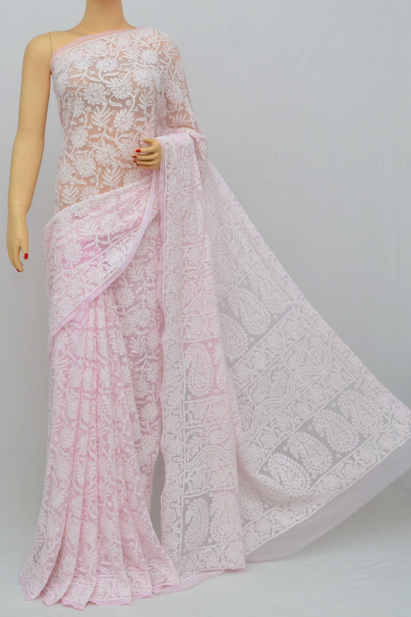 Light Pink Color Allover Jaal Heavy Palla Hand Embroidered Lucknowi Chikankari Saree (with Blouse - Georgette) Ss250265