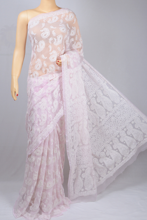 Light Pink Allover Hand Embroidered Lucknowi Chikankari Saree (With Blouse - Georgette) MC2500461