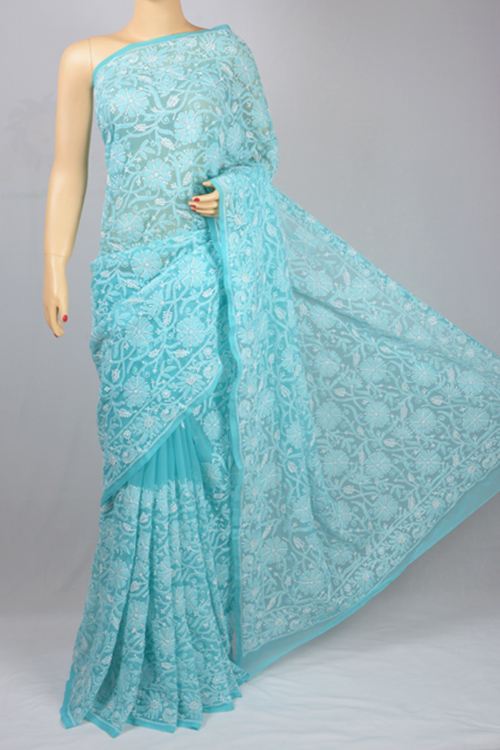 Sky Blue Allover Jaal Hand Embroidered Lucknowi Chikankari Saree (With Blouse - Georgette) MC250047