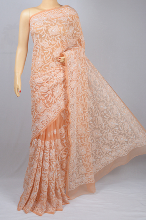 Peach  Allover Hand Embroidered Lucknowi Chikankari Saree (With Blouse - Georgette) MC250048