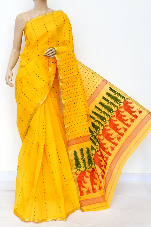 Yellow Colour Handwoven Bengal Handloom Cotton Saree (Without Blouse) 17027