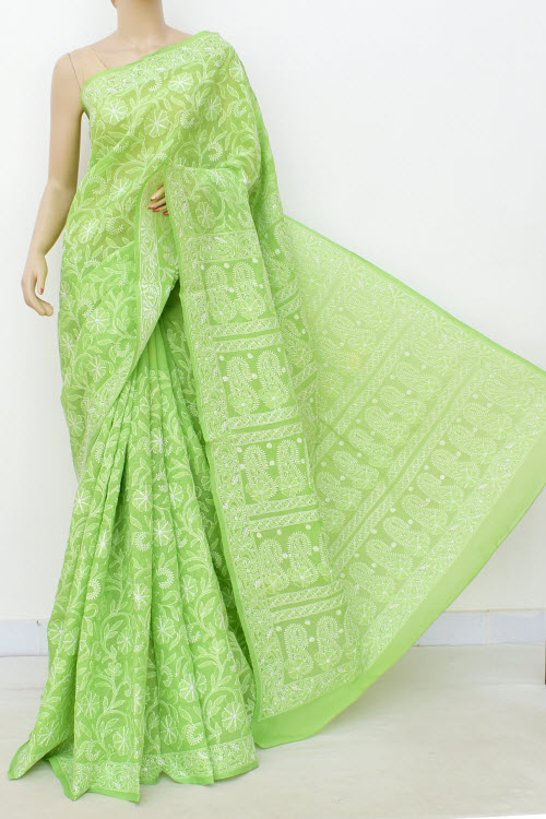 Green Allover Hand Embroidered Lucknowi Chikankari Saree (Cotton-With Blouse) 14740