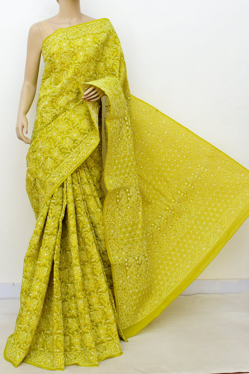 Mehendi Colour Allover Hand Embroidered Lucknowi Chikankari Saree (Cotton-With Blouse) 14746