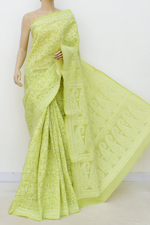 Green Allover Hand Embroidered Lucknowi Chikankari Saree (cotton-with Blouse) 14947