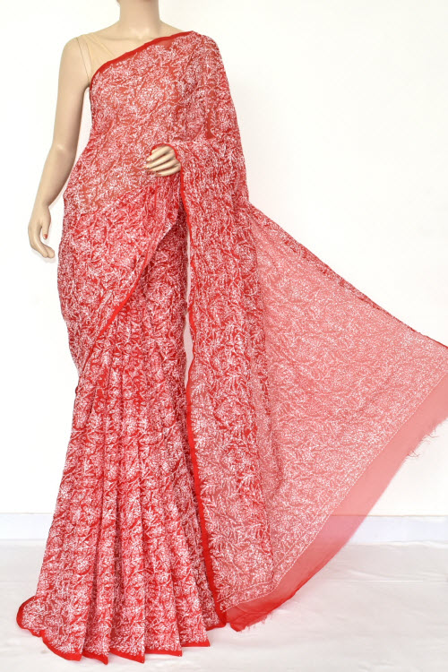Red Hand Embroidered Allover Tepchi Lucknowi Chikankari Saree (Georgette-With Blouse) 14710