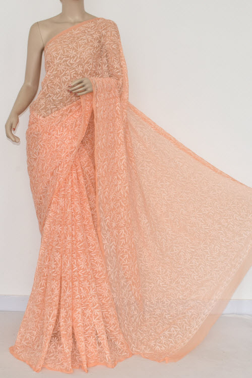 Orange Hand Embroidered Allover Tepchi Lucknowi Chikankari Saree (Georgette-With Blouse) 14827