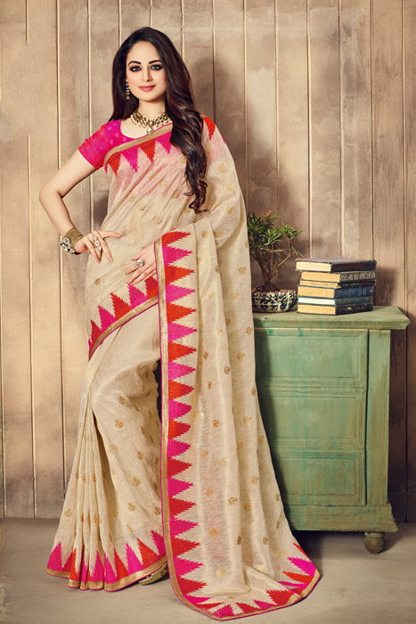 Semi Silk Saree With Matka Print In Beige