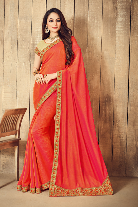 Art Silk Saree With Golden Weaved Embellished Border