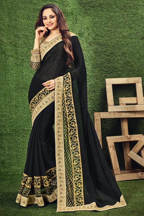 Elegant Black Saree With Golden Weaved Border
