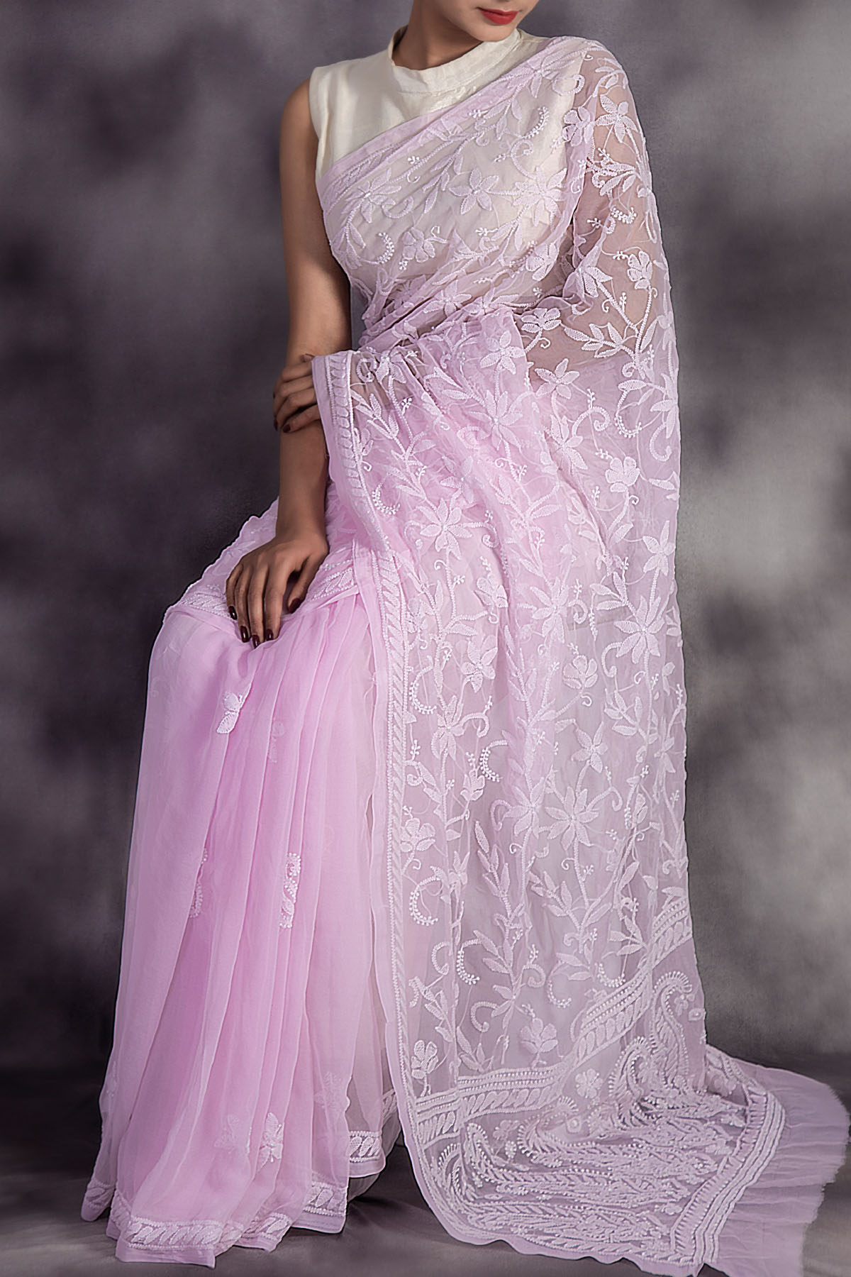 Powderpink Colour Hand Embroidered Half Jaal Lucknowi Chikankari Designer Saree (With Blouse - Georgette) GA250592