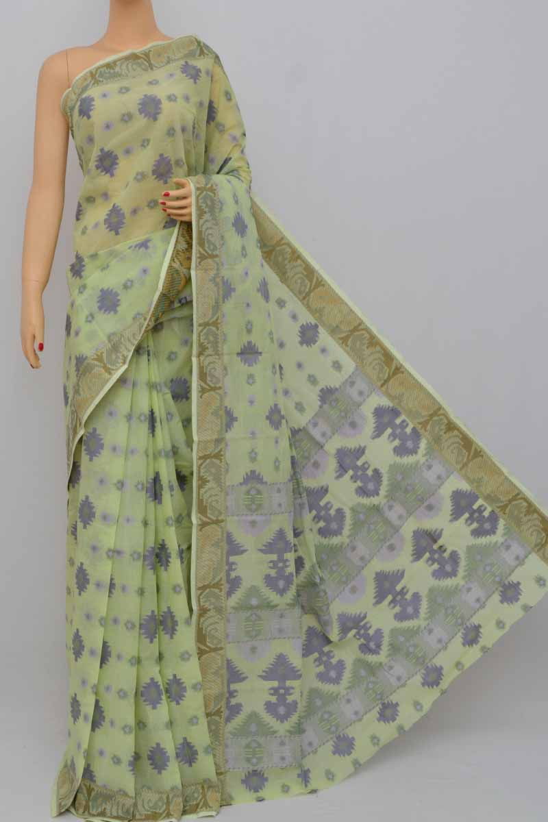 Lightgreen Color Cotton Tant Bengal Handloom Dhakai Jamdani Allover Saree (Without Blouse) - SS250408