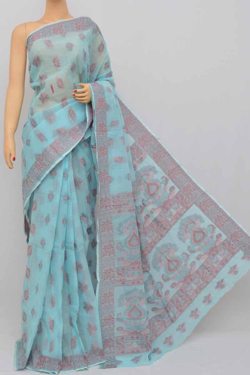 Skyblue Color Cotton Tant Bengal Handloom Dhakai Jamdani Allover Saree (without Blouse) - Ss250409