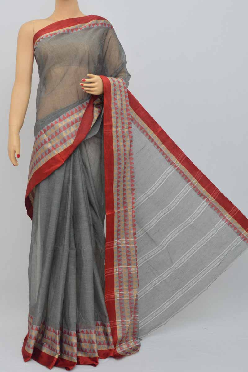Grey Color Bengal Handloom Cotton Saree (Without Blouse)- MY250449