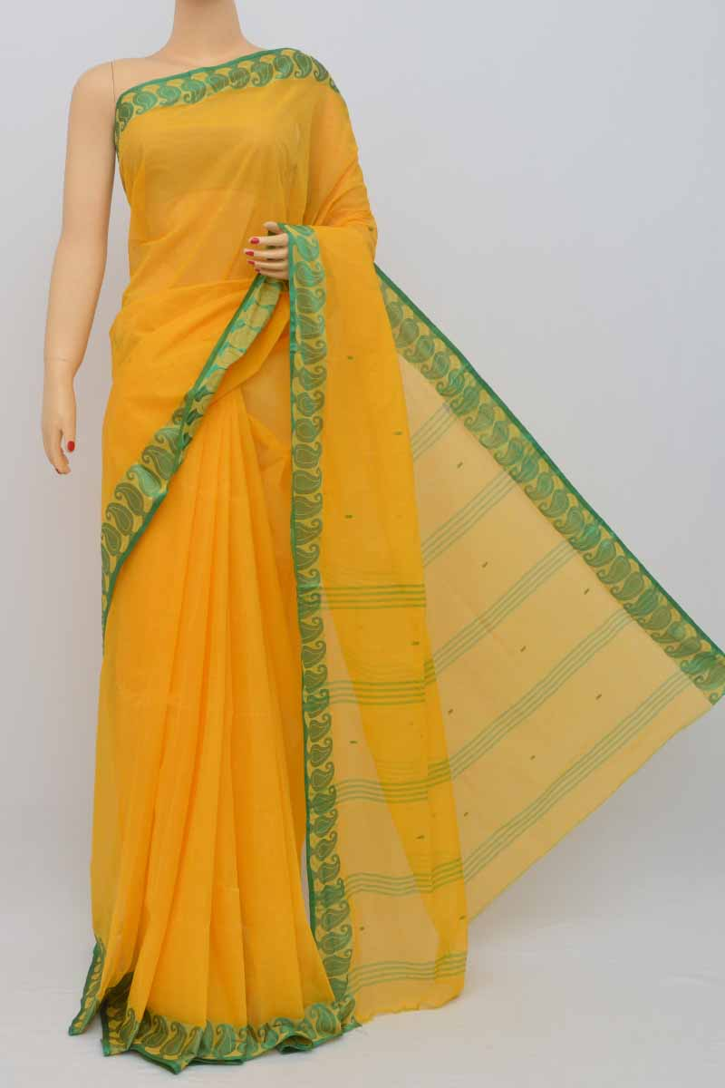 Yellow Colour Bengal Handloom Cotton Saree (without Blouse) - Ss250451