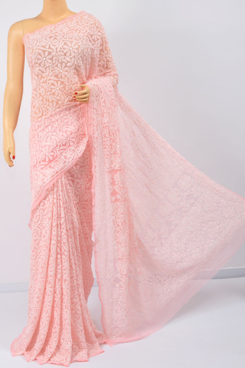 Peach Color Allover Jaal, Heavy Palla Hand Embroidered Lucknowi Chikankari Saree (With Blouse - Georgette) KC250122