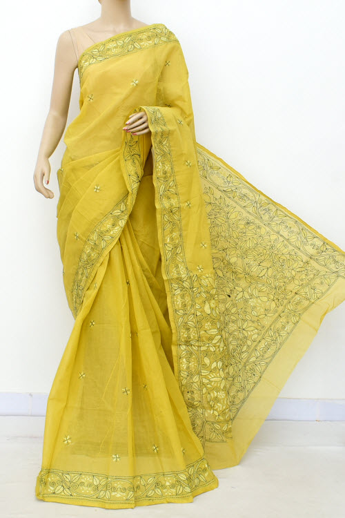 Lime Colour Kantha Embroidery Bengal Handloom Cotton saree (Without Blouse) 17637