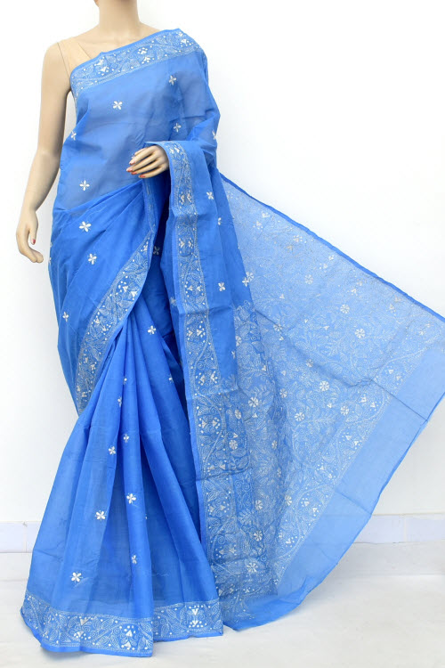 Blue Colour Kantha Embroidery Bengal Handloom Cotton saree (Without Blouse) 17753