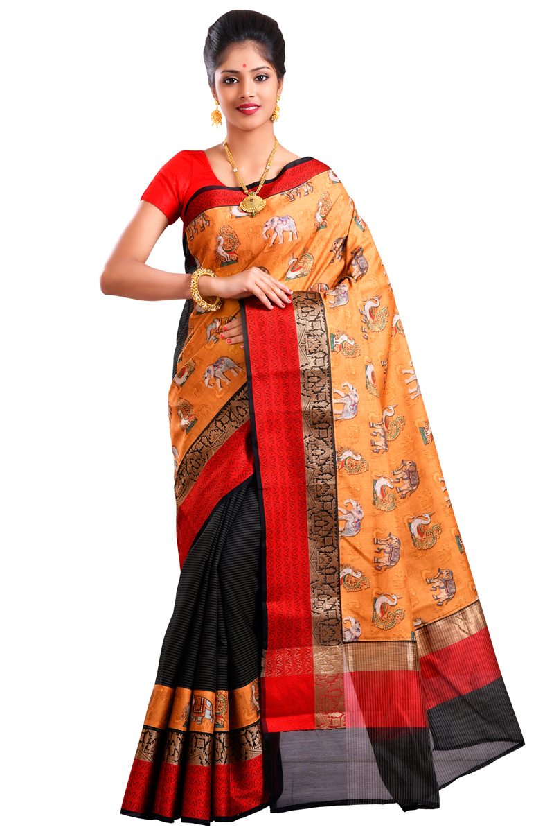 Orange-red Color Color Printed Red-black Checks Chanderi Saree With Resham And Zari Border