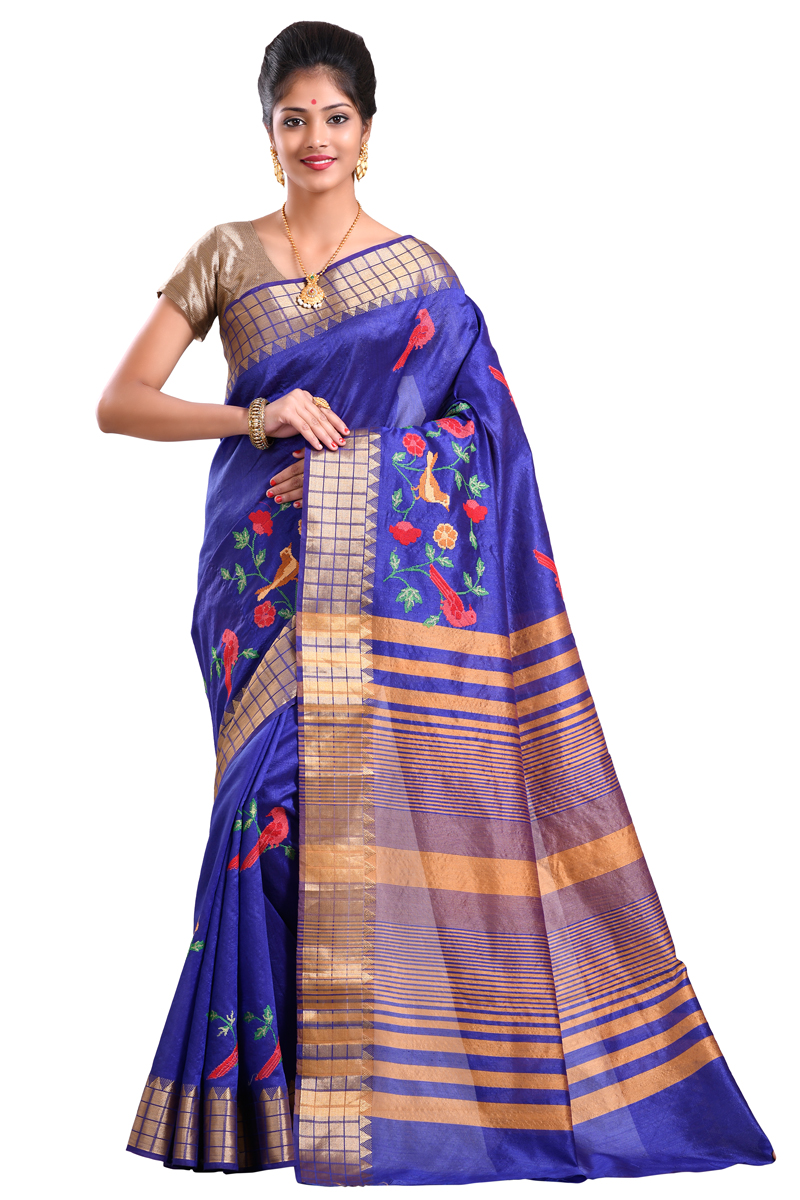 Royal Blue Color Scott Embroidered Tasar Saree With Zari Border