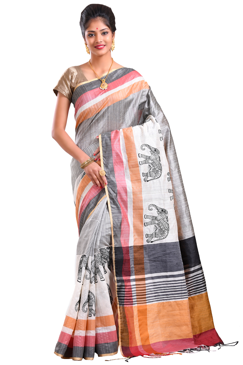 Light Grey Color Resham Embroidered CHnaderi Saree With Patta Border