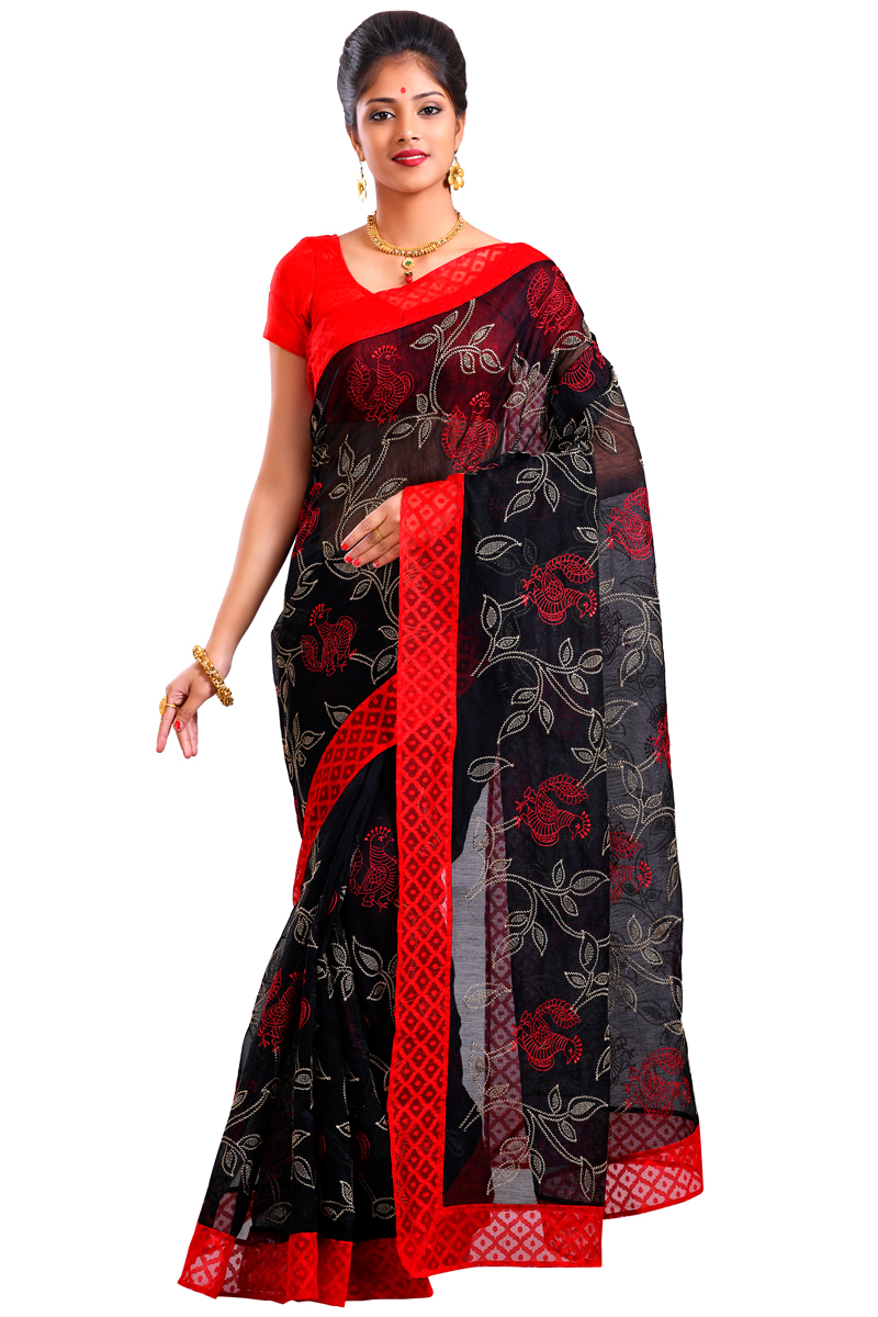 Black Color Embroidered Net Saree With Red Handloom Border