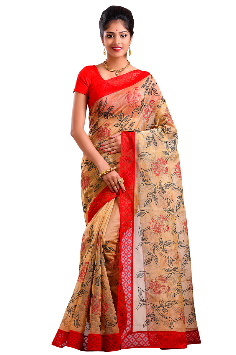 Beige Color Embroidered Net Saree With Red Handloom Border.