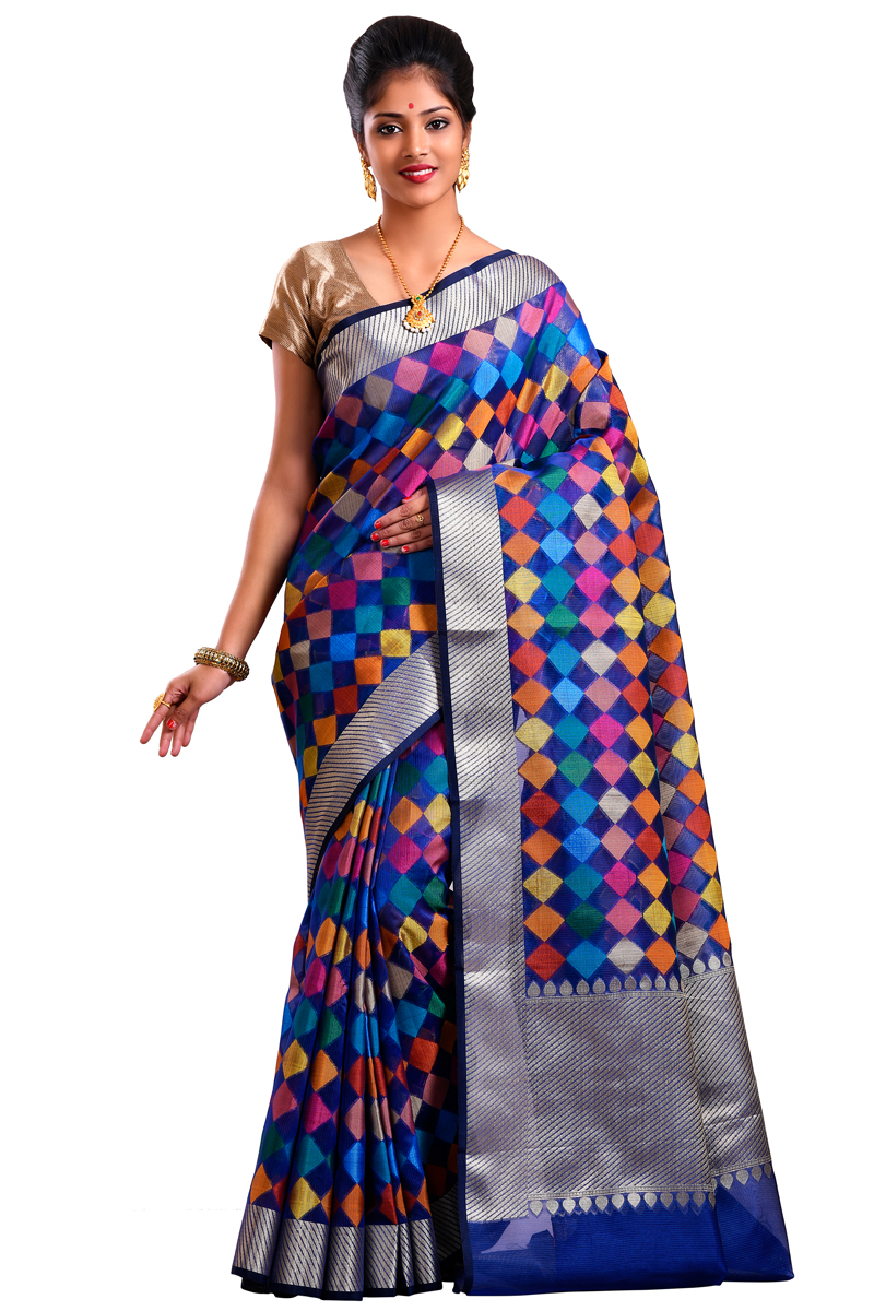 Blue Color Weaving Work Cora Checks Saree With Resham Patta