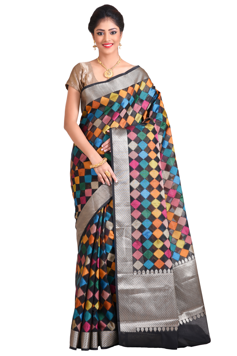 Black Color Weaving Work Cora Checks Saree With Resham Patta