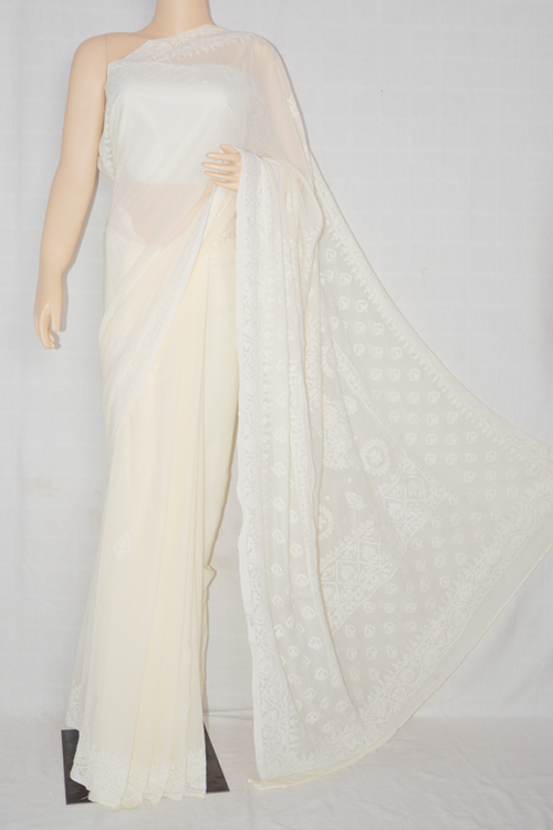 cream Hand Embroidered Work Lucknowi Chikankari Saree (With Blouse - Georgette)- MC60016