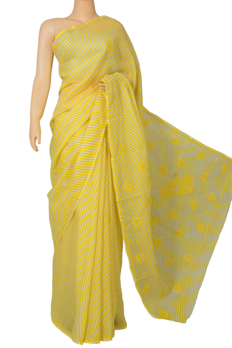 Yellow JP Munga Kota Printed Cotton Saree MC60018