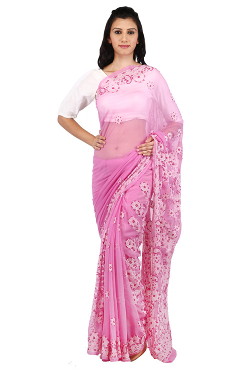 BDS Chikan Georgette Onion pink Saree For Woman with Blouse Piece White and Maroon  Threaded Lucknow Chikan Work   - BDS00131