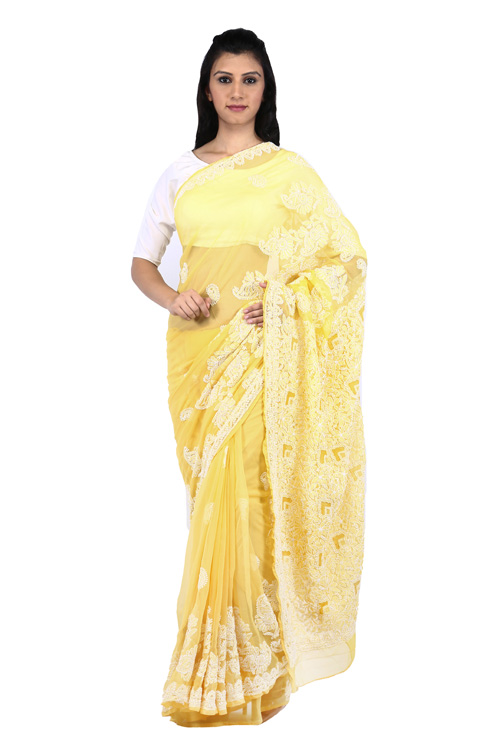 BDS Chikan Georgette Yellow Saree For Woman with Blouse Piece and White Threaded Lucknow Chikan Work   - BDS00132
