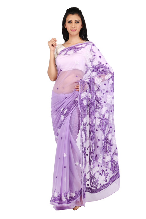 BDS Chikan Georgette Light Purple Saree For Woman with Blouse Piece and White & Dark Purple Threaded Lucknow Chikan Work   - BDS00136