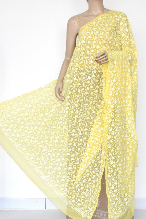 Yellow Allover Hand Embroidered Lucknowi Chikankari Dupatta (Georgette)17946