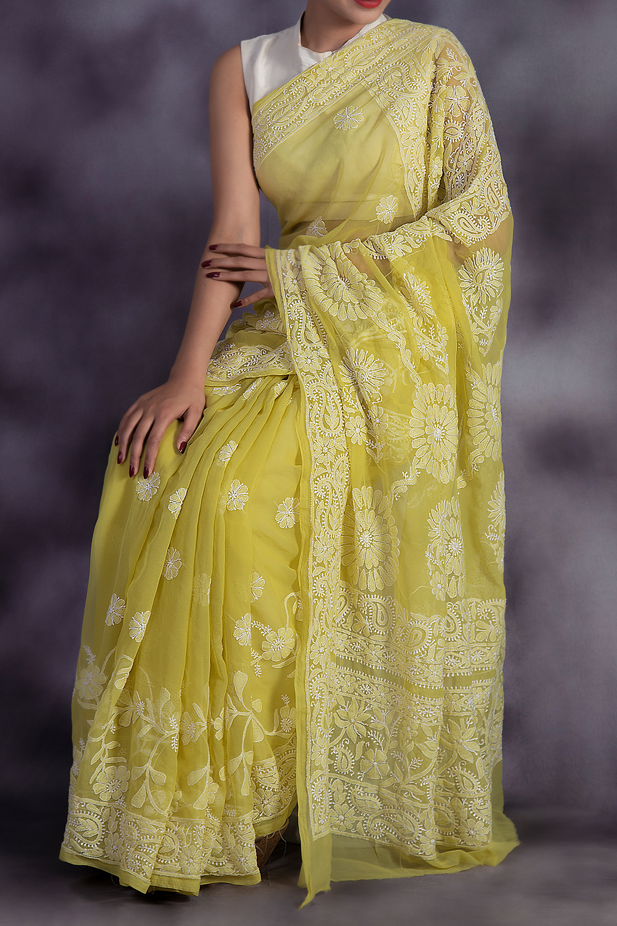 Olive Green Colour Hand Embroidered Lucknowi Chikankari Saree (With Blouse - Georgette) GA250594