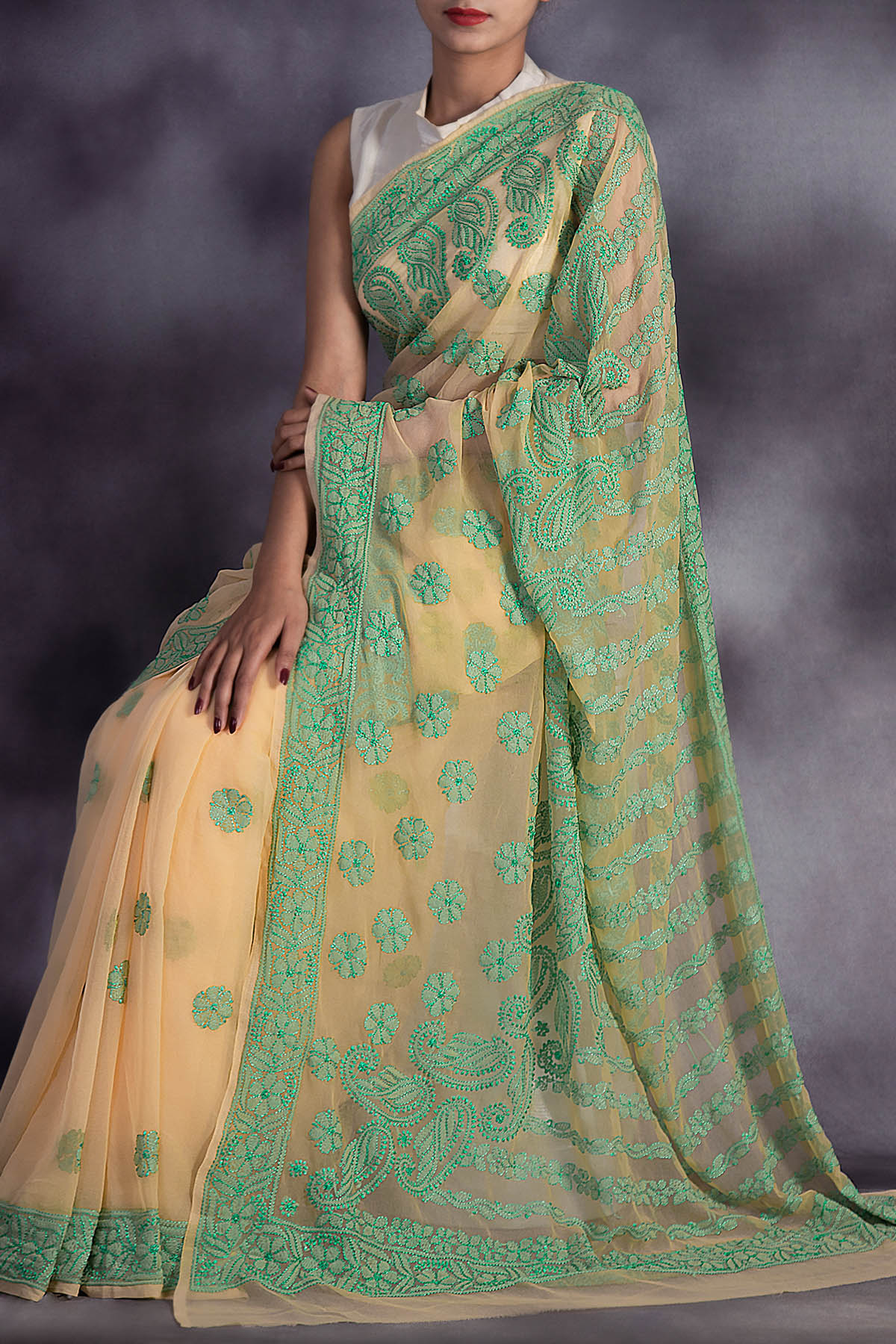 Partywear Hand Embroidered Lucknowi Chikankari Saree With Resham Thread Work (with Blouse - Georgette) Ga250597