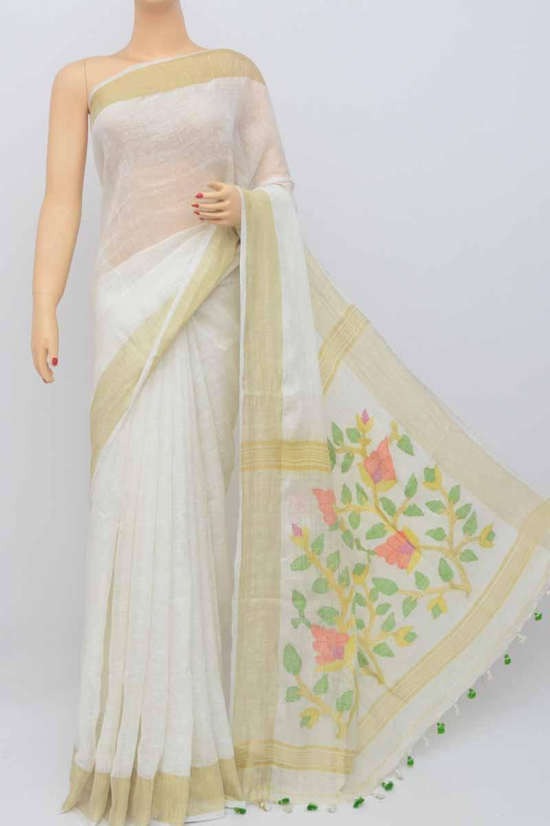 White Color Handwoven Textured Traditional Jamdani Saree (With Blouse) - KC250460