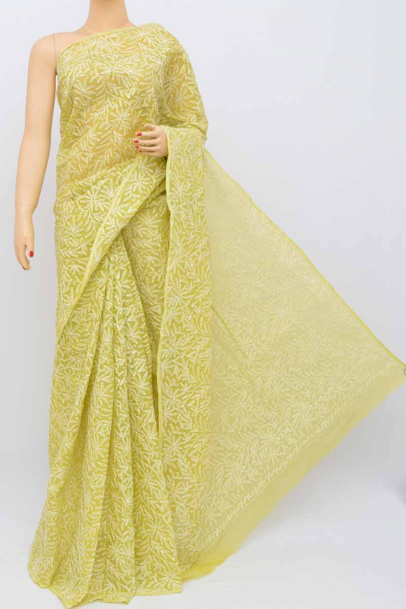 Lime Green Color Allover Kota Cotton Tepchi Work Hand Embroidered Lucknowi Chikankari Saree (Without Blouse) SS250477