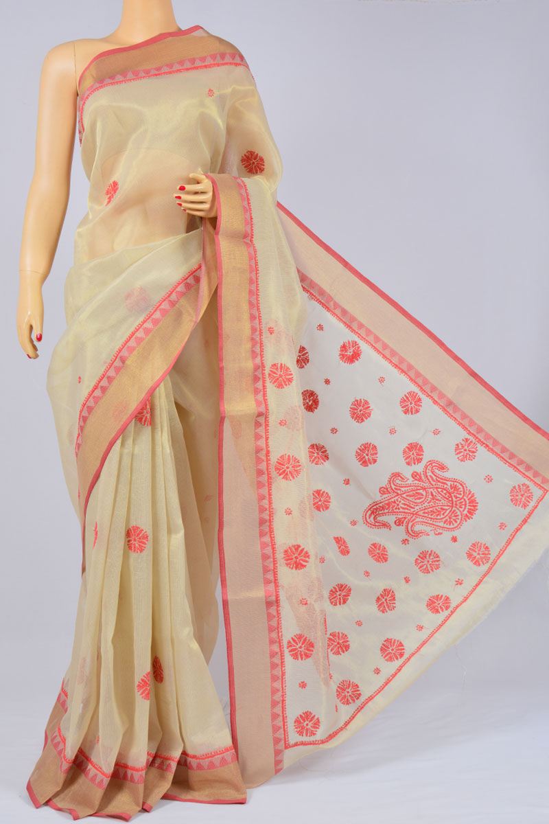 Cream Color Hand Embroidered Lucknowi Chikankari Kota Silk Zari Border Saree (With Blouse) - MC250163