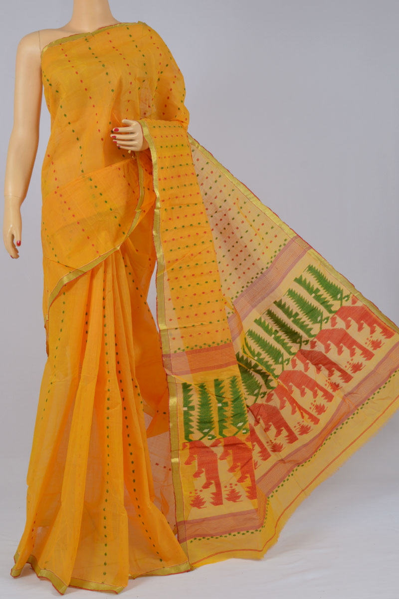Fire Color Handwoven Bengal Handloom Pure Cotton Tant Saree (without Blouse) - KC250168