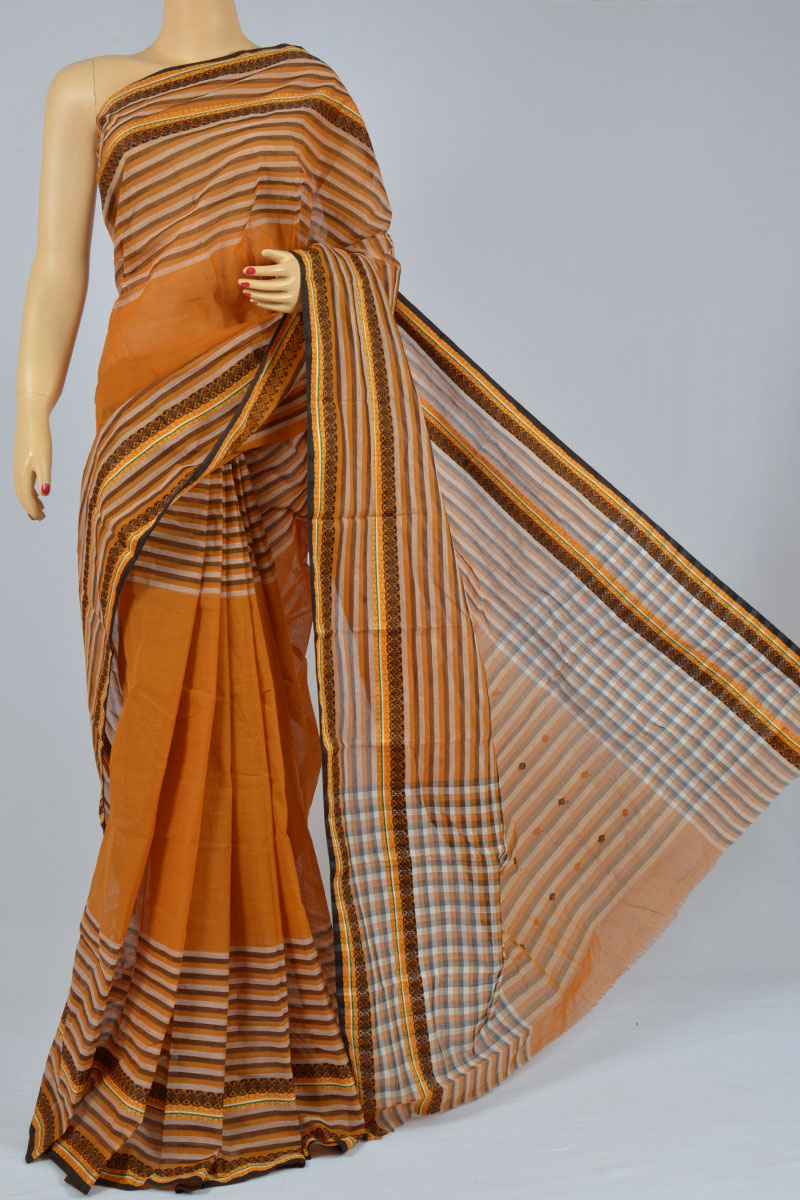 Squash Color Handwoven Bengal Handloom Pure Cotton Tant Saree (without Blouse) - MC250165