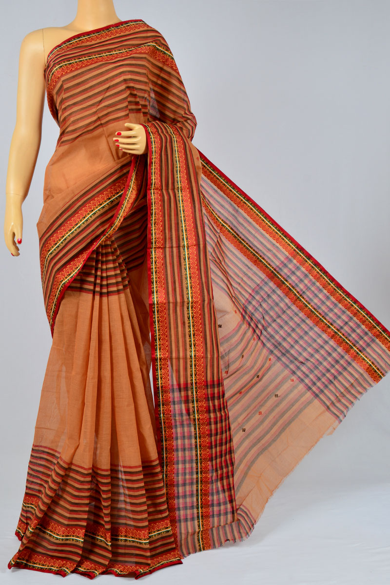Sandstone Color Handwoven Bengal Handloom Pure Cotton Tant Saree (without Blouse) - KC250166