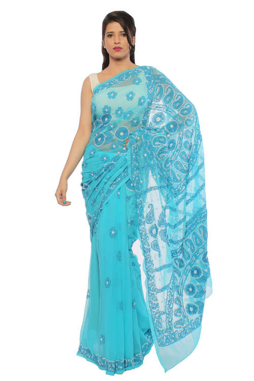 BDS Chikan Georgette Blue Saree For Woman with Blouse Piece White and Dark Blue Threaded Lucknow Chikan Work   - BDS00141