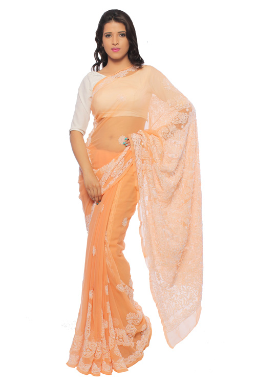 BDS Chikan Georgette Peach Saree For Woman with Blouse Piece and White With Threaded Lucknow Chikan Work   - BDS00143