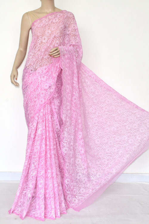 PInk Hand Embroidered Allover Tepchi Lucknowi Chikankari Saree (Georgette-With Blouse) 14881