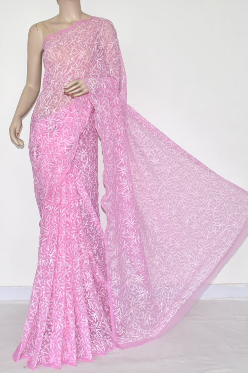 Pink Hand Embroidered Allover Tepchi Lucknowi Chikankari Saree (Georgette-With Blouse) 14882
