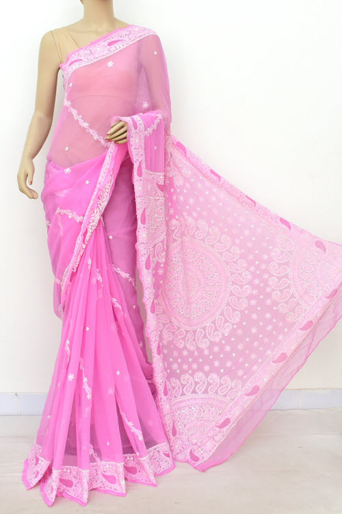 Pink Hand Embroidered Lucknowi Chikankari Saree (Georgette-With Blouse) 14627
